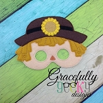 Scarecrow Girl Mask Mask Embroidery Design - 5x7 Hoop or Larger