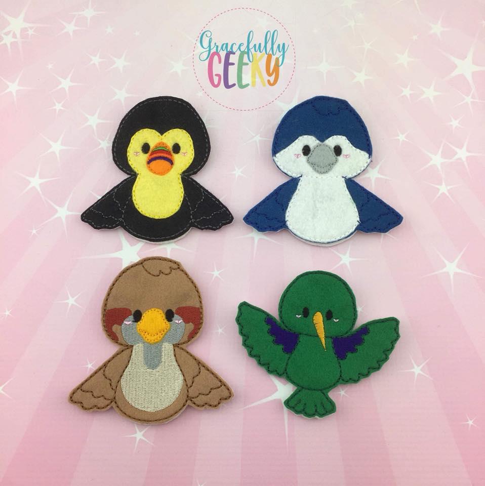 Birds Finger Puppet Set Embroidery Design