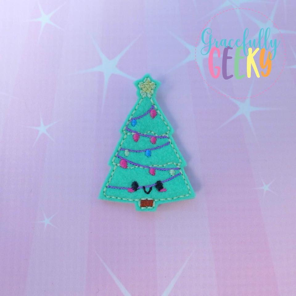 Kawaii Christmas Tree Feltie ITH Embroidery Design 4x4 hoop (and larger)
