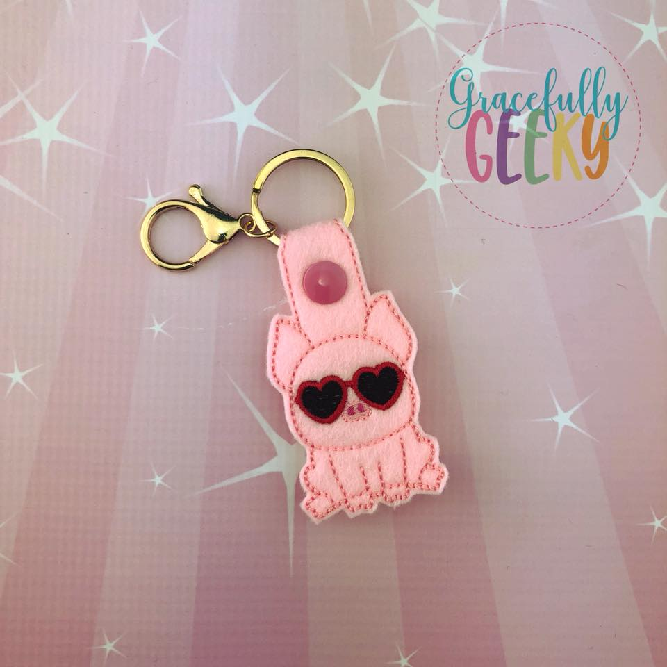 Pig Heart Glasses Snap Keychain ITH Embroidery Design - 5x7 Hoop or Larger