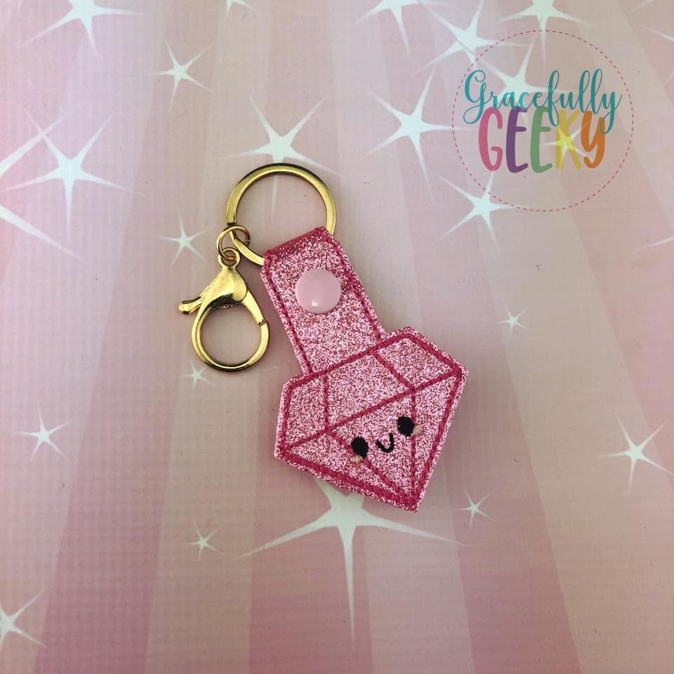 Pink Diamond Snap Keychain ITH Embroidery Design - 5x7 Hoop or Larger