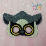 Lemur  Mask Embroidery Design - 5x7 Hoop or Larger