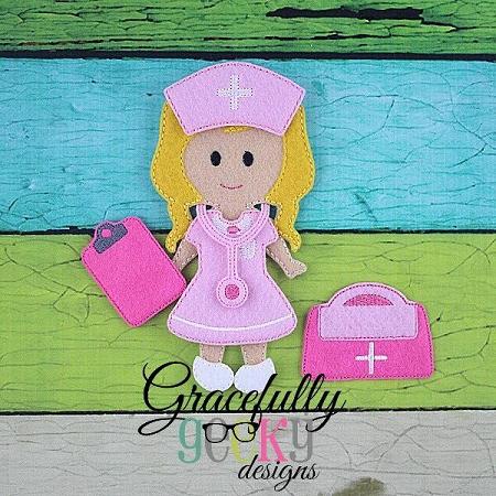 Nurse Dress Up Doll Embroidery Design 5x7 Hoop Or Larger