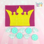 Crown Tic Tac Toe Board Embroidery Design - 5x7 Hoop or Larger