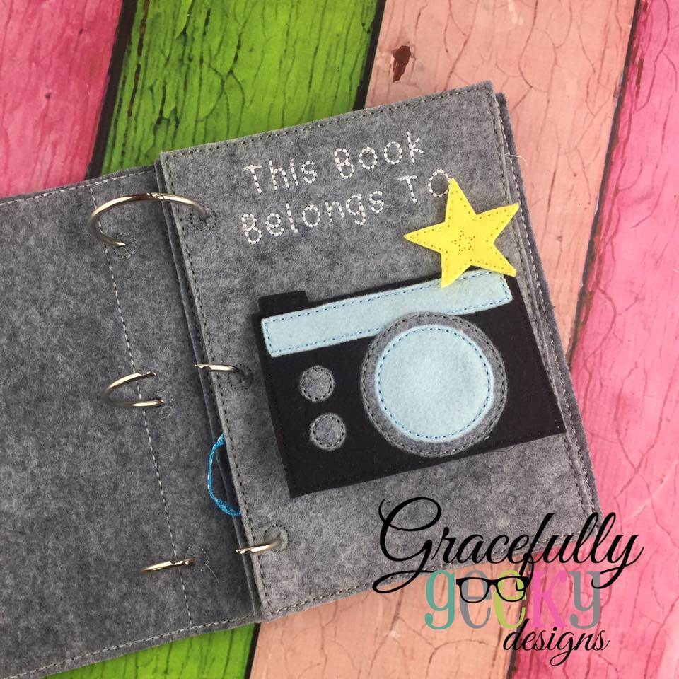 Camera Quiet Book Page Embroidery Design 5x7 Hoop Or Larger