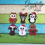 Christmas Creatures Finger Puppet SET   Embroidery Design - 4x4 Hoop or Larger