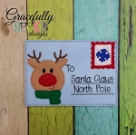 Reindeer Santa Letter Embroidery Design 5x7 hoop and up