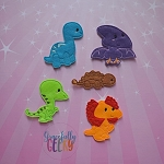 Dinosaur 1 finger puppet set - Embroidery Design
