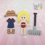 Farmer Girl Dress up Doll and accessories - Embroidery Design 5x7 hoop or larger