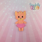 Fox Ballerina Flat Doll (Clothes Attached) - Embroidery Design 5x7 hoop or larger