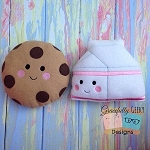Perfect Match cookie and milk stuffies Embroidery Design