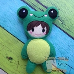 Frog girl/boy Stuffie Embroidery Design