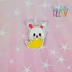 Kawaii Bunny in egg Feltie ITH Embroidery Design 4x4 hoop (and larger)