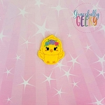Kawaii Chick Floral Feltie ITH Embroidery Design 4x4 hoop (and larger)