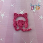 Kitty Headphones Feltie ITH Embroidery Design 4x4 hoop (and larger)