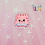 Pig Easter Egg Girl Feltie ITH Embroidery Design 4x4 hoop (and larger)
