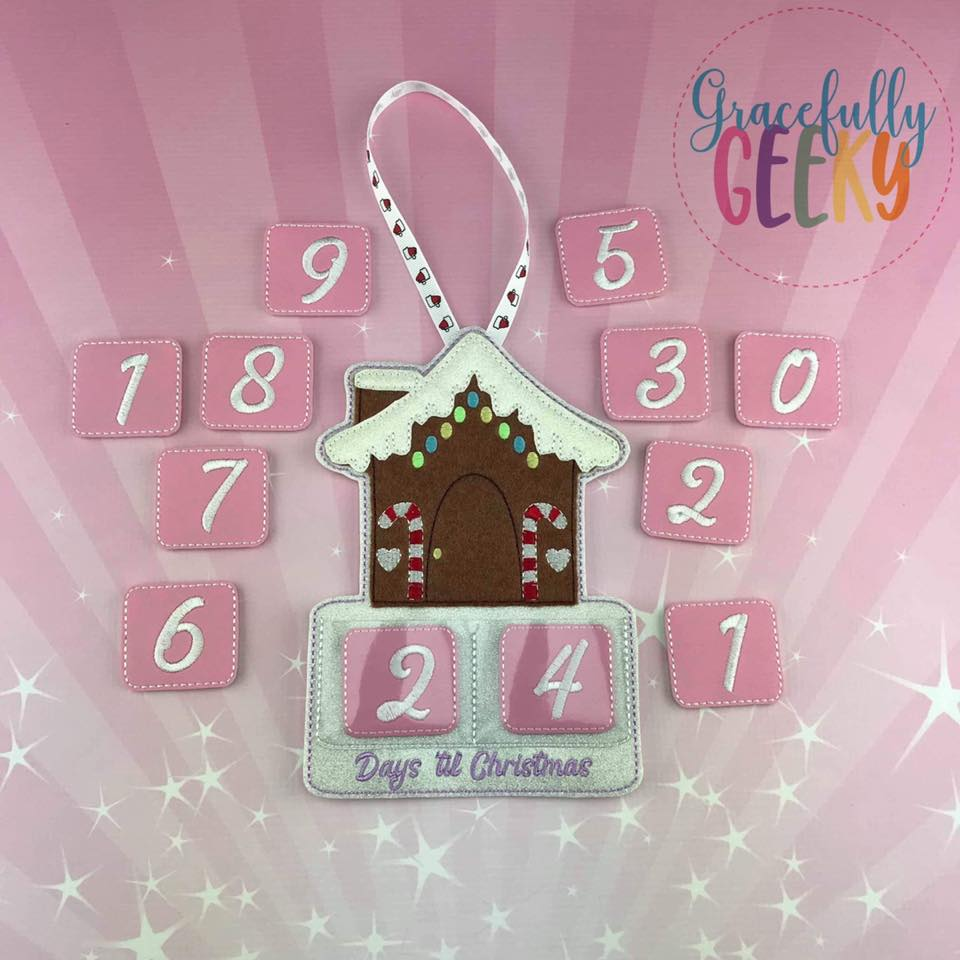 Countdown To Christmas.Gingerbread House Countdown To Christmas Embroidery Design 5x7 Hoop Or Larger Release Dec14 W1