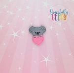 Koala Heart Feltie ITH Embroidery Design 4x4 hoop (and larger)