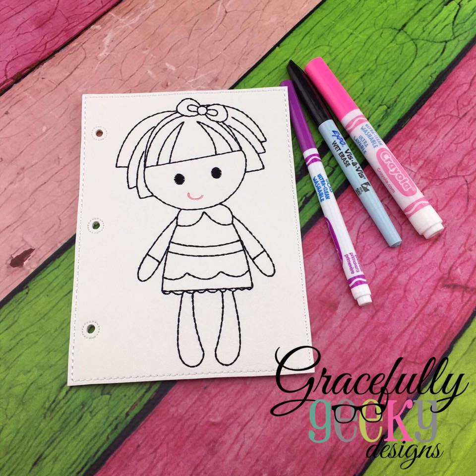 Childrens coloring sheet of a rag doll - Rag Doll Quiet Book Coloring Page Ith Embroidery Design 5x7 Hoop