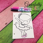 Ballerina quiet book coloring page ITH embroidery design 5x7 hoop