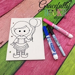 Clown Girl quiet book coloring page ITH embroidery design 5x7 hoop