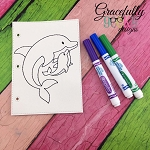 Dolphin mom and baby quiet book coloring page ITH embroidery design 5x7 hoop