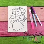 Frog Princess quiet book coloring page ITH embroidery design 5x7 hoop