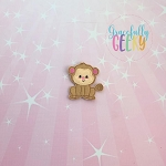 Monkey Feltie ITH Embroidery Design 4x4 hoop (and larger)
