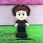 Frida Girl Dress up Doll - Embroidery Design 5x7 hoop or larger