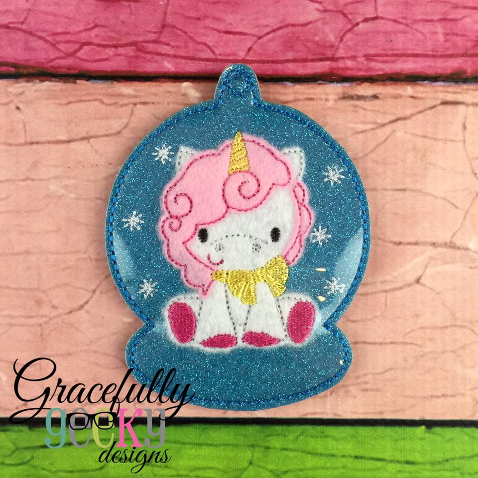 Unicorn ornament embroidery design hoop and up