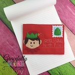 Elf Santa Letter Embroidery Design 5x7 hoop and up