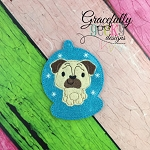 Pug ornament Embroidery Design 4x4 hoop and up