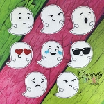Ghost Emojis Felties ITH Embroidery Design 4x4 hoop (and larger)