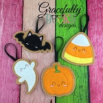 Halloween ornament SET Embroidery Design 4x4 hoop and up