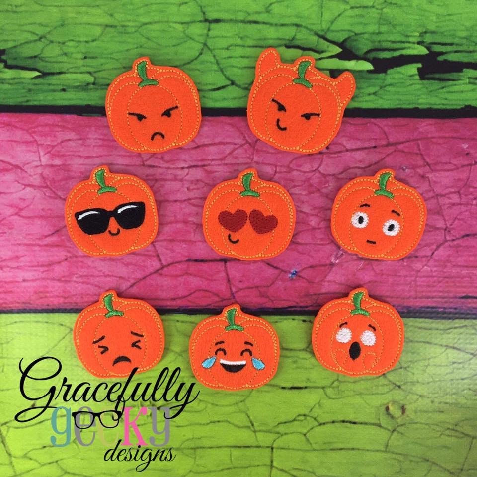 Pumpkin Emojis Felties Ith Embroidery Design 4x4 Hoop And