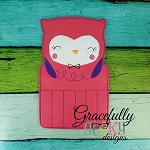 Owl Crayon Holder Embroidery Design - 5x7 Hoop or Larger