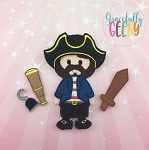 Pirate Boy Dress up Doll and accessories - Embroidery Design 5x7 hoop or larger