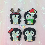 Christmas Penguin Feltie SET ITH Embroidery Design 4x4 hoop (and larger)