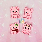 Pig Feltie SET ITH Embroidery Design 4x4 hoop (and larger)