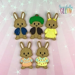 Rabbit Family finger puppet set - Embroidery Design