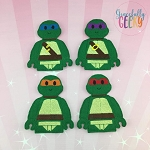 Block head turtles finger puppet set - Embroidery Design