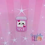 Kawaii Capsule Bottle Feltie ITH Embroidery Design 4x4 hoop (and larger)