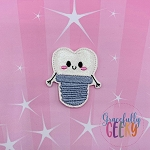 Kawaii Tooth Implant Feltie ITH Embroidery Design 4x4 hoop (and larger)