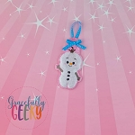 Snowman Hello Ornament Embroidery Design - 4x4 Hoop or Larger