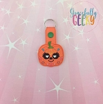 Pumpkin Sugarskull Eyelash Heart Eyes Snap Keychain ITH Embroidery Design - 5x7 Hoop or Larger