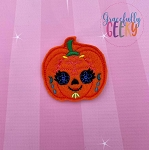 Pumpkin Sugarskull Flower Eyelash Feltie ITH Embroidery Design 4x4 hoop (and larger)