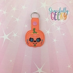 Pumpkin Sugarskull Flower Eyelash Snap Keychain ITH Embroidery Design - 5x7 Hoop or Larger