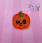 Pumpkin Sugarskull Flower Eyes Feltie ITH Embroidery Design 4x4 hoop (and larger)