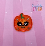 Pumpkin Sugarskull Eyelash Heart Eyes Feltie ITH Embroidery Design 4x4 hoop (and larger)  (COPY)