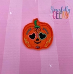 Pumpkin Sugarskull Heart Eyes Feltie ITH Embroidery Design 4x4 hoop (and larger)